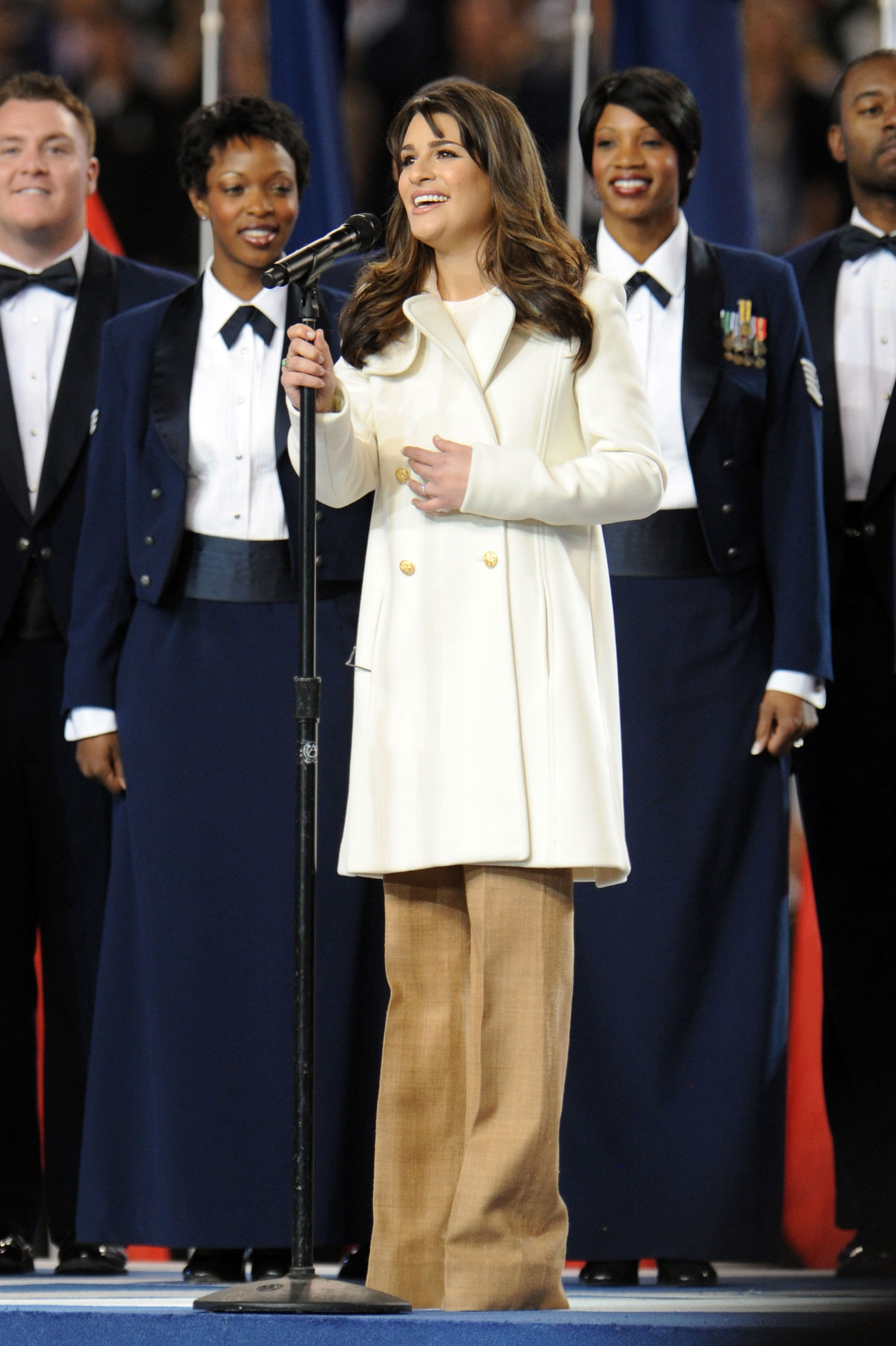 Lea Michele hit all the high notes during the pregame show in 2011.