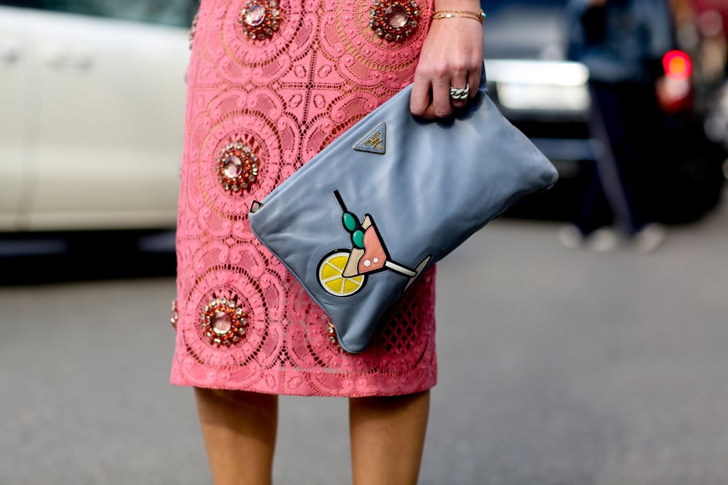 This Prada clutch is also a cheeky nod to one of our favorite cocktails.