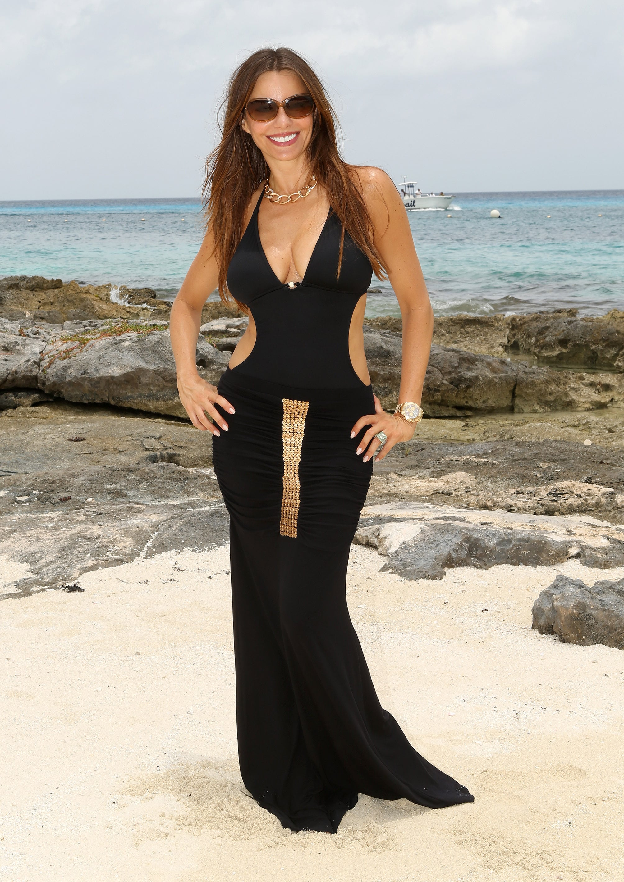 We couldn't have a sexiest moments list without including this aye mamí moment from Sofia's 40th birthday in Cozumel, Mexico. Donning a cutout monokini and embellished maxi skirt, Vergara proved you can be both swim-ready and sexy.