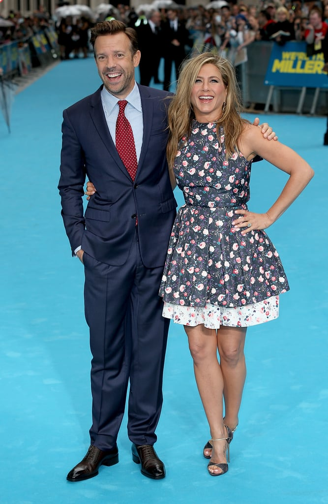 Jason Sudeikis and Jennifer Aniston had a laugh together during the UK premiere of We're the Millers.
