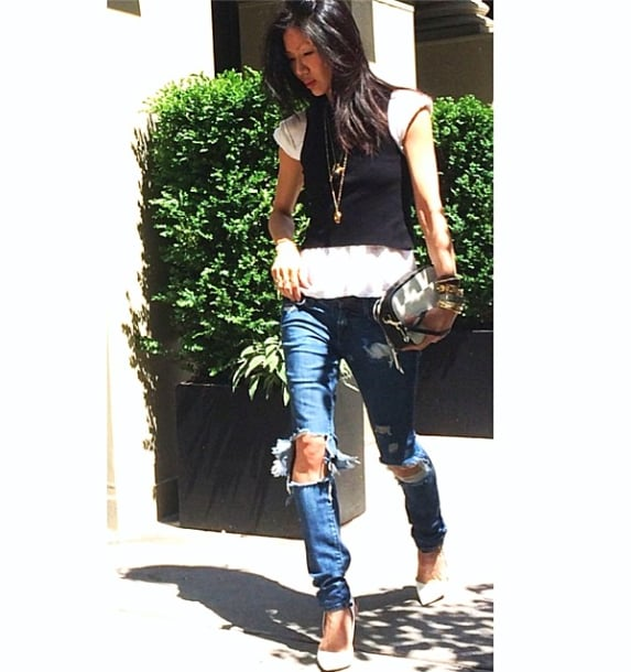 """We're seriously digging the clutch Marissa carried when she grammed this #OOTD on Memorial Day: """"Favorite vintage jeans hanging on by a thread. #truelove#boyfriend#jeans#ootd#streetstyle#marissawebb w/ @marissawebbnyc tops & @bananarepublic clutch #comingsoon happy Memorial Day!!!! X."""" If you are too, you can shop it for yourself: Banana Republic Harper Double-Zip Camera Cross-Body Bag ($120). Source: Instagram user marissawebb"""