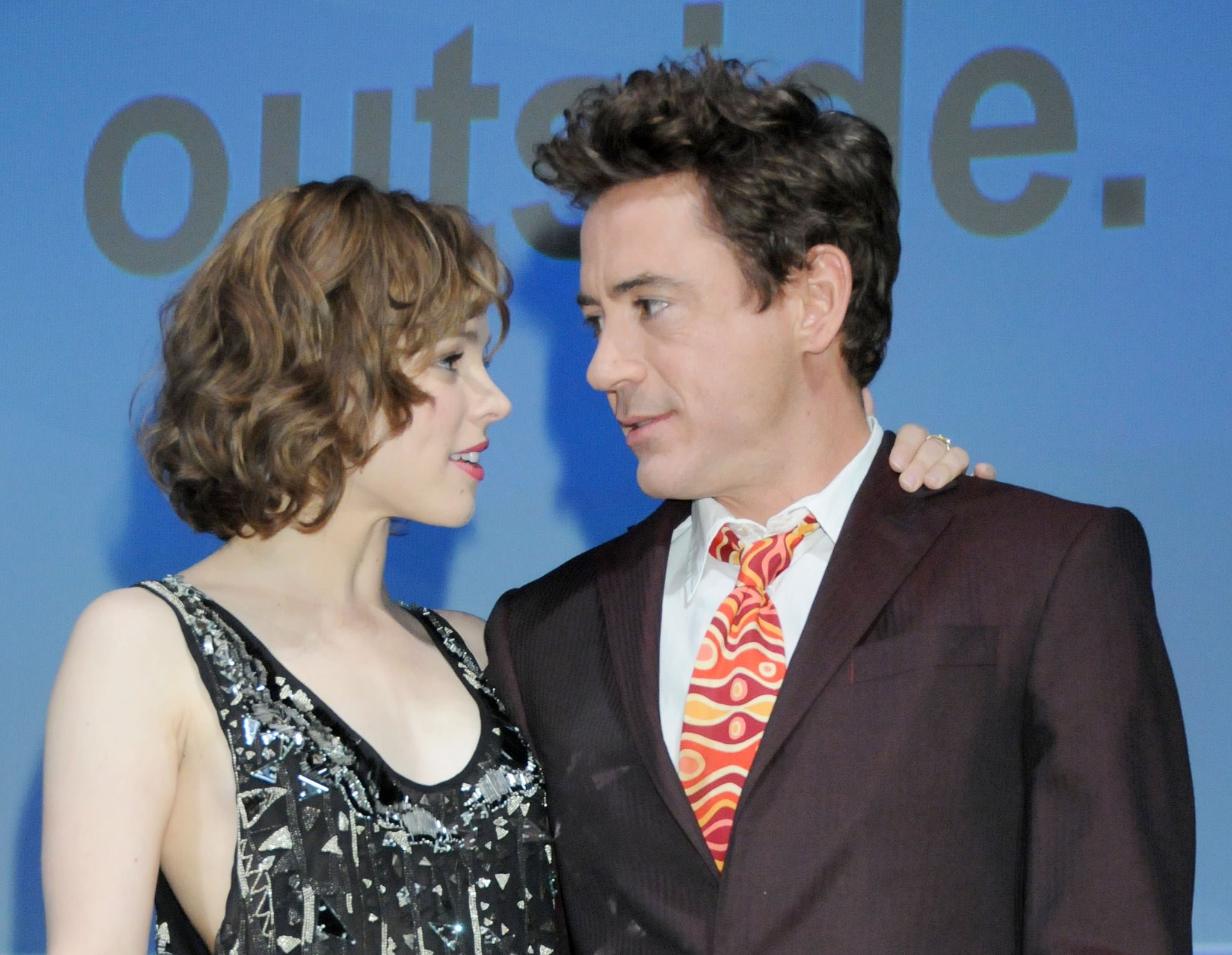 Rachel McAdams and Robert Downey Jr stayed close while promoting Sherlock Holmes in 2009.