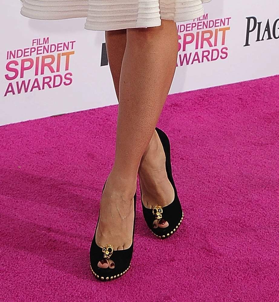 At the Indie Spirit Awards, Salma Hayek wore an Alexander McQueen dress with Alexander McQueen skull-encrusted peep-toes.
