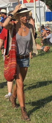 Sienna Miller in Fedora and Jean Shorts at Glastonbury