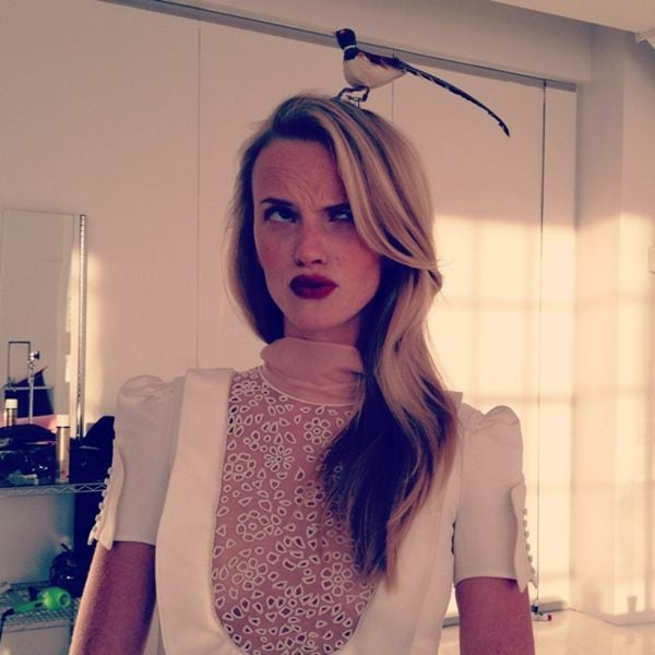 Anne V. wore a bird on her head. Source: Twitter user AnneV