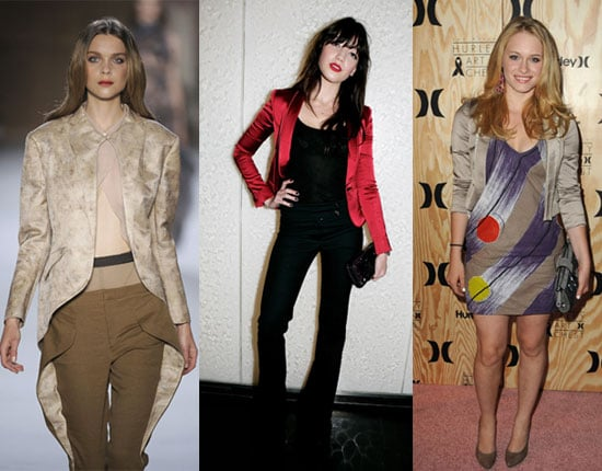 Daisy Lowe in Red Satin Blazer, Leven Rambin at Hurley Event
