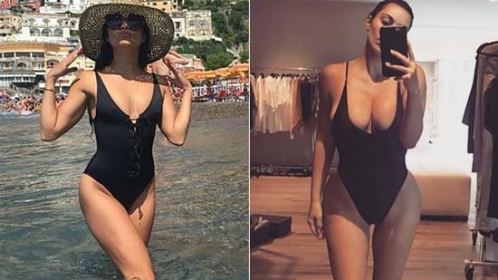 Vanessa Hudgens Channels Her Inner Kim Kardashian in Sexy Black Swimsuit on Italian Vacation