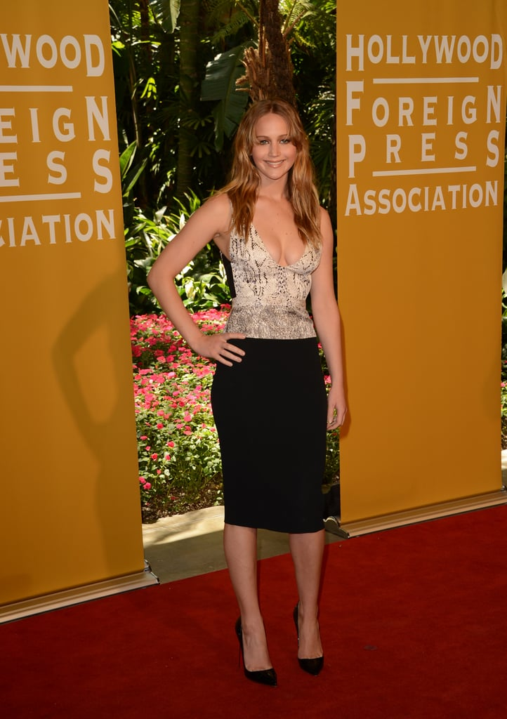 Jennifer Lawrence slipped into a slinky Narciso Rodriguez Resort '13 look for the Hollywood Foreign Press Association luncheon.