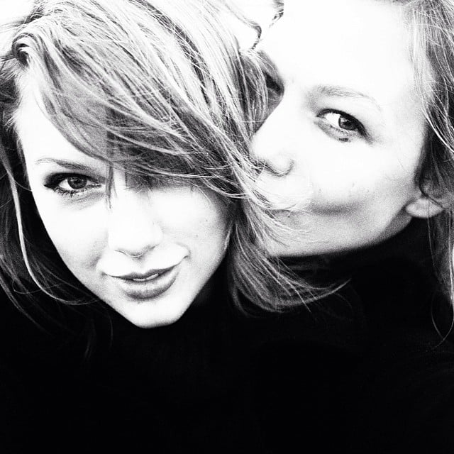 Taylor Swift and her sometimes-doppelganger Karlie Kloss shared a smooch. Source: Instagram user taylorswift