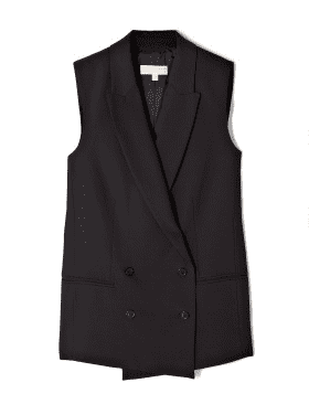 A perfect masculine complement to your frilliest of party dresses.  Michael Michael Kors Double Breasted Tailored Gilet ($322)