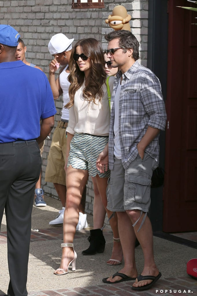 Kate Beckinsale visited the party with her family.