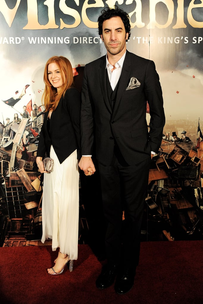 Sacha Baron Cohen and Isla Fisher attended Les Mis's London afterparty.