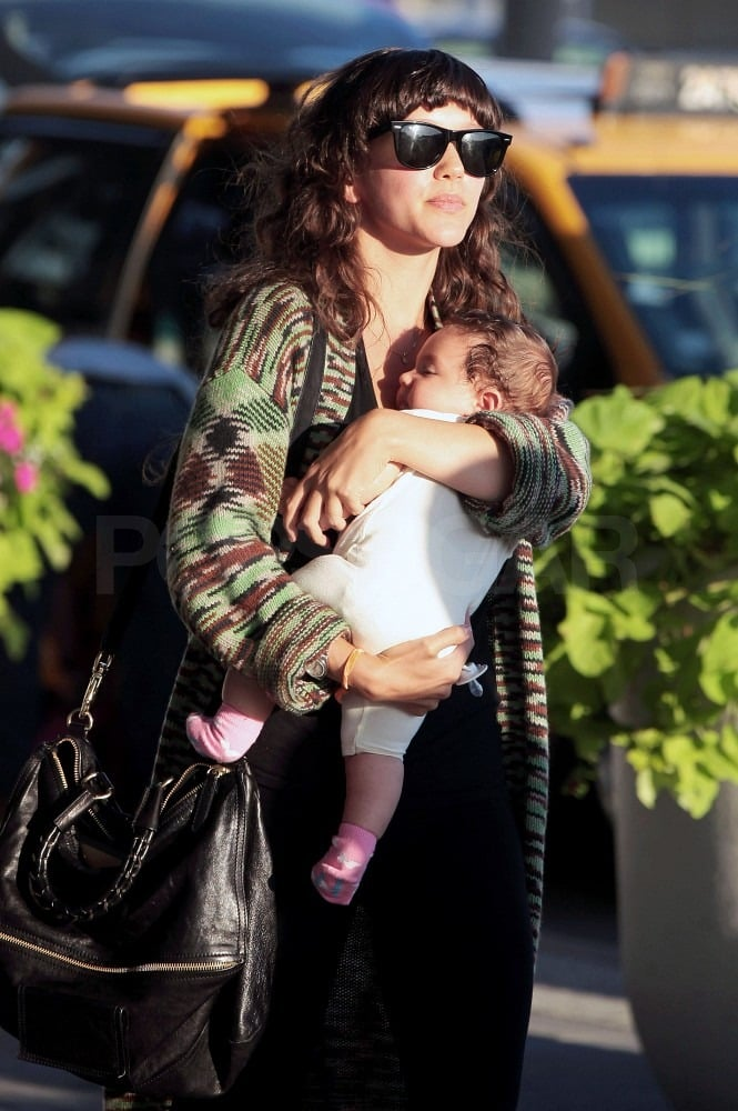 Zoe Buckman and baby Cleo wore their travel gear.