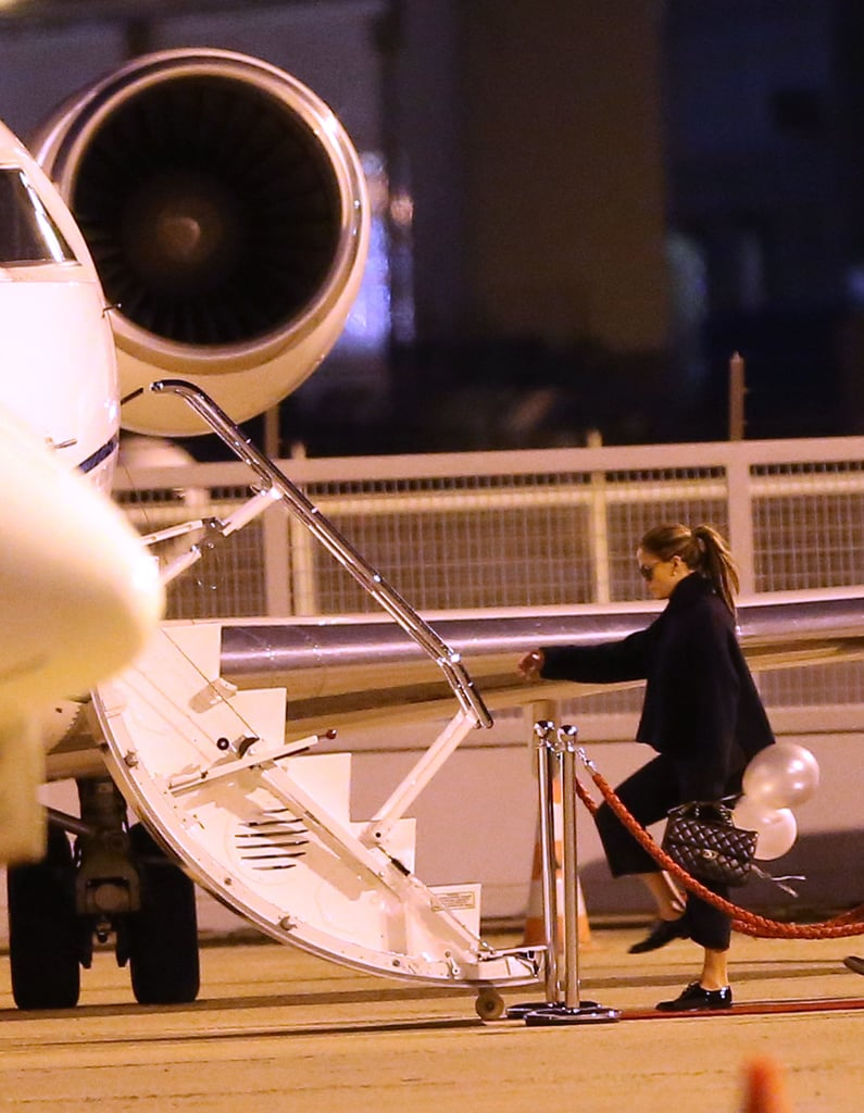 Jennifer Lopez boarded a private jet.
