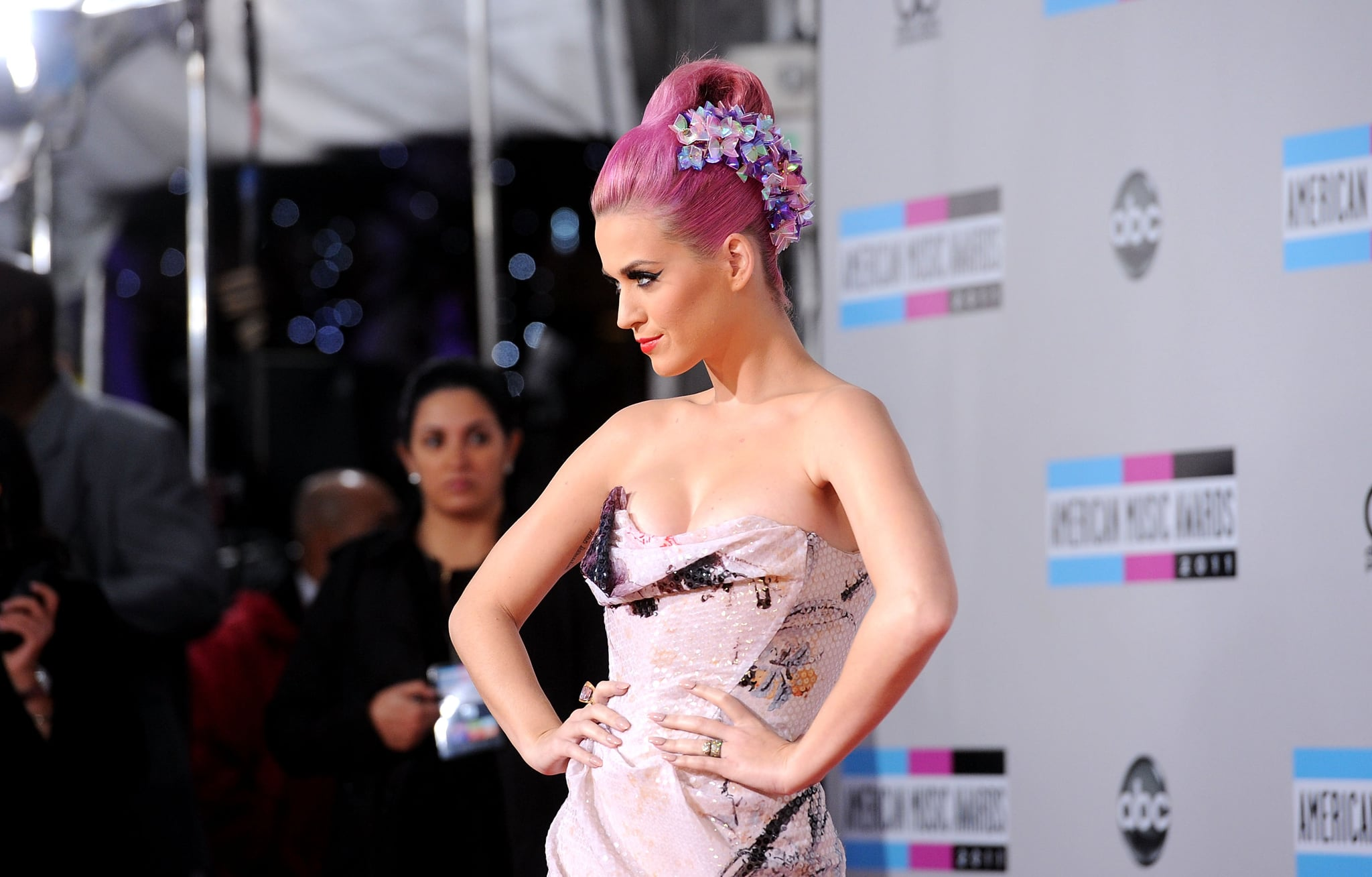 Katy Perry with pink hair.