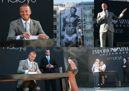 David Beckham Unveils His New Armani Ad at Macy's in San Francisco!