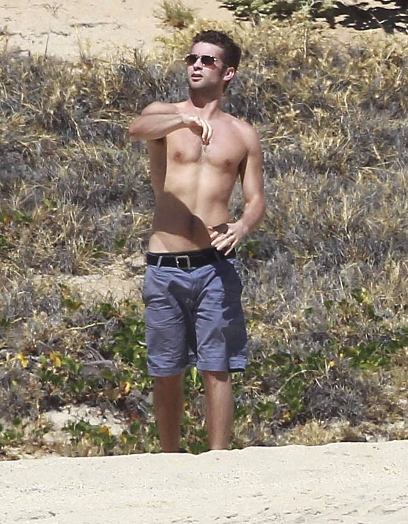 Chace Crawford tossed a football around with friends during a Cabo San Lucas vacation in February.