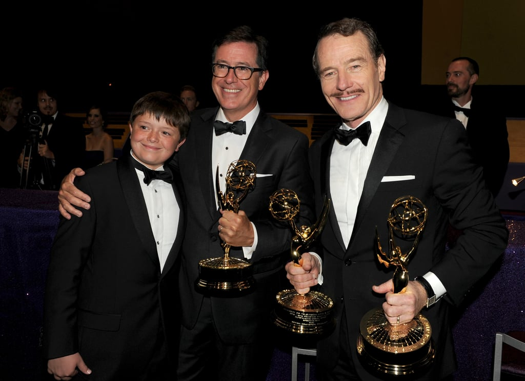 Bryan Cranston celebrated his wins with Stephen Colbert and his young son.