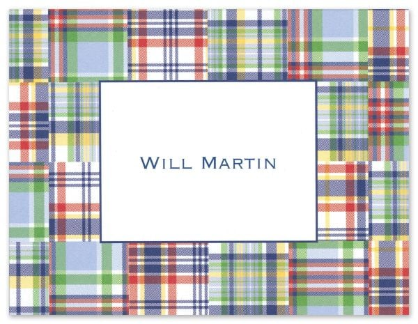 Your pint-sized prepster should express his thanks on a note card that matches his well-defined style. Blue madras cards by Boatman Geller ($53 for a set of 25) should do the trick.