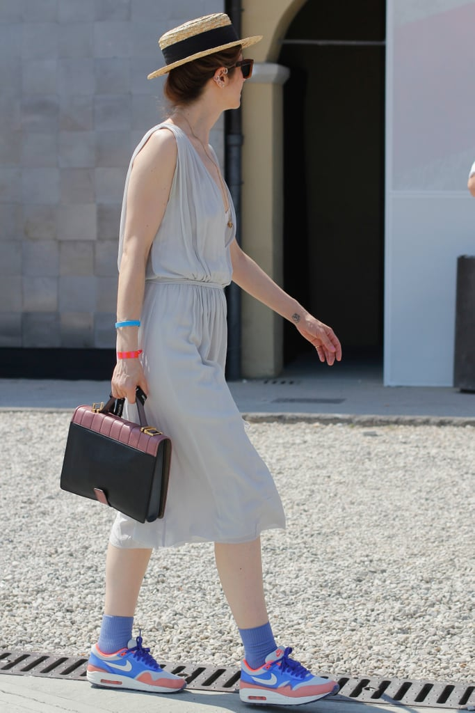 The effect of adding cool kicks to a breezy sundress isn't just comfy, it's also downright cool.