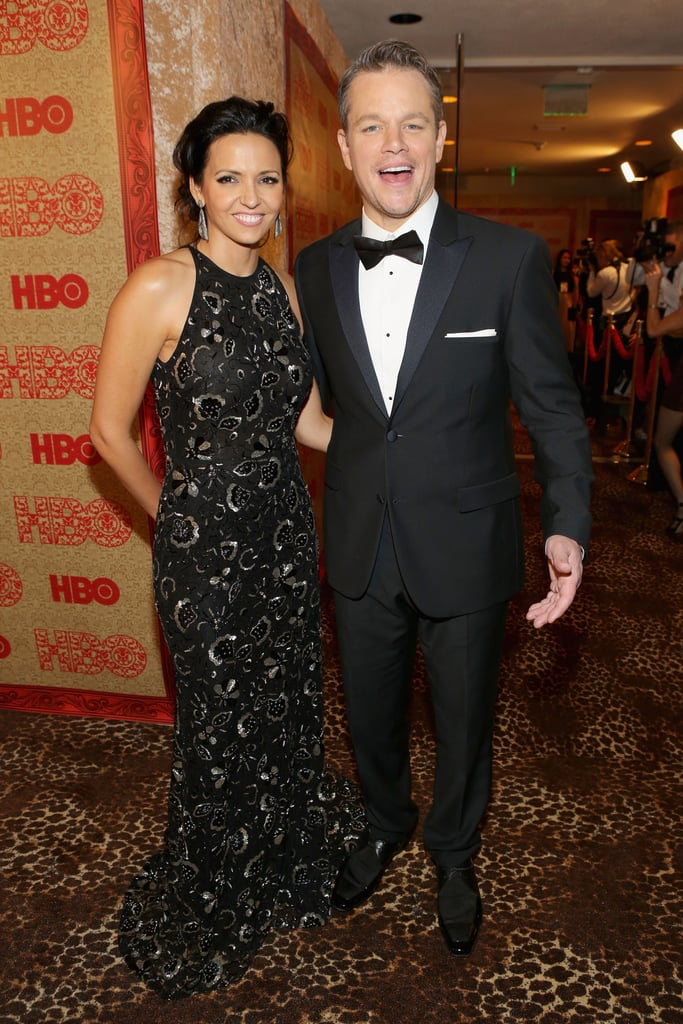 Matt and Luciana Damon got excited on their way into HBO's afterparty.
