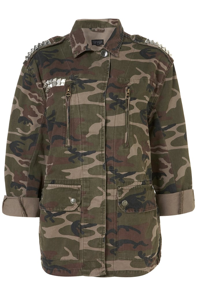 Camouflage and studs? How did we get so lucky? Topshop Studded Camo Jacket (approx $86)