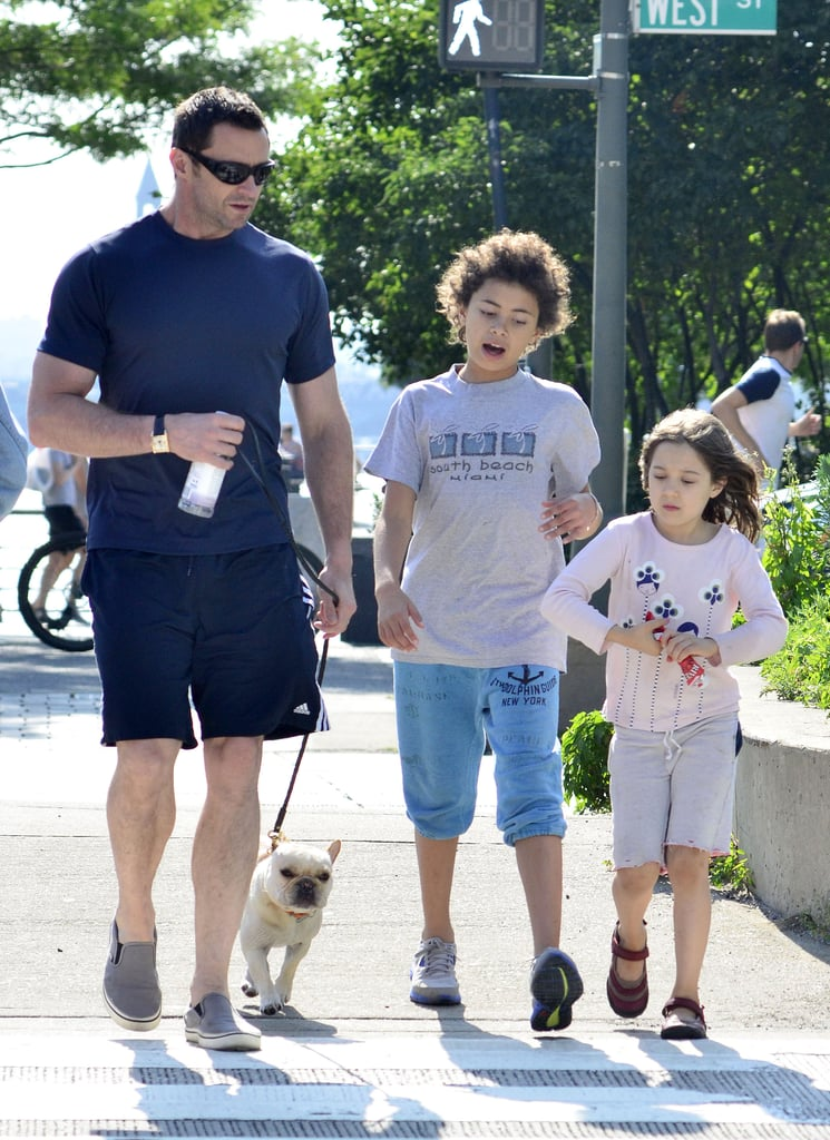 Hugh Jackman enjoyed Father's Day with his two kids, Ava and Oscar, at an NYC park.