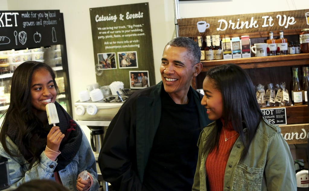 Malia and Sasha enjoyed ice cream with their dad during Small Business Saturday in November 2015.