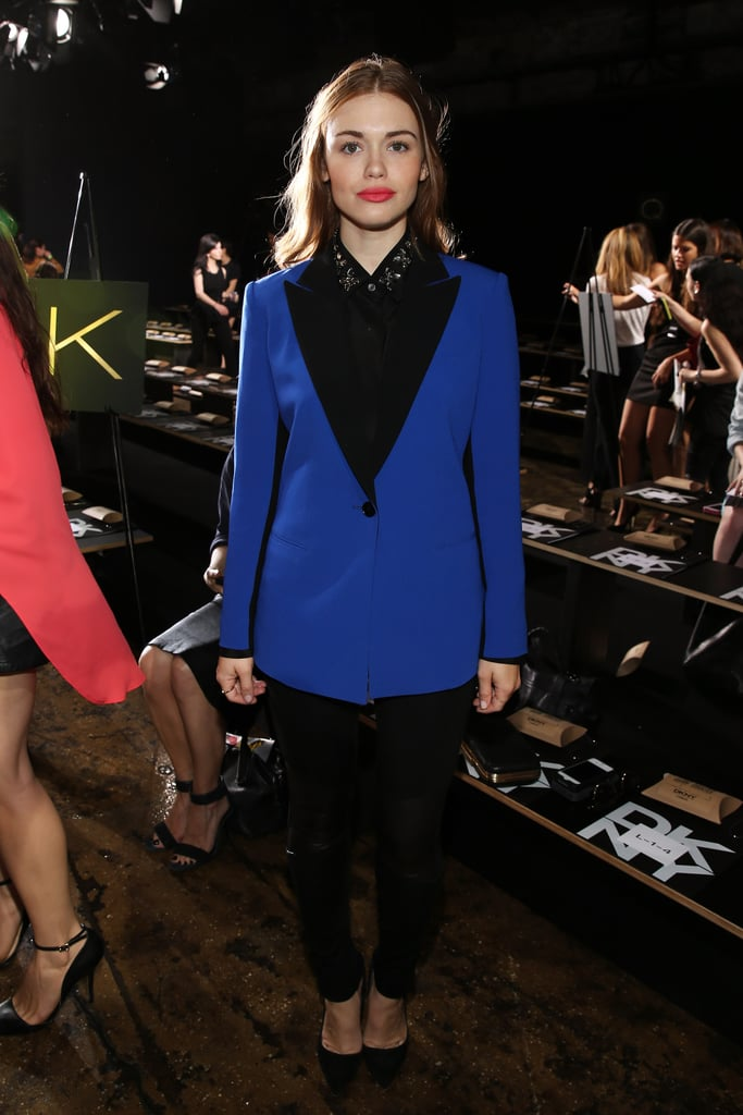 Holland Roden's electric blue blazer stood out at DKNY.