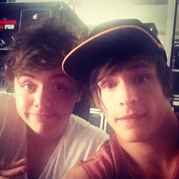 Jayden Sierra and Trent Bell hunt out at the recording studio. Source: Instagram user trentbell90