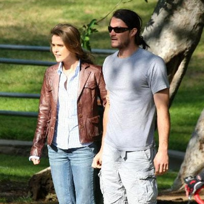Keri Russell and Shane Deary on the Set of Bedtime Stories