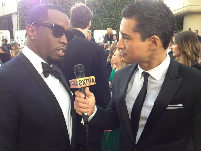 Mario Lopez interviewed Diddy on the Globes red carpet. Source: Twitter user MarioLopezExtra