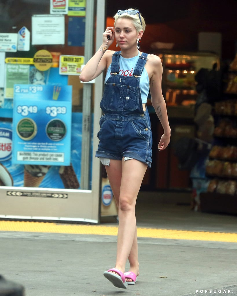 Miley Cyrus wore overalls while out in LA on Tuesday.