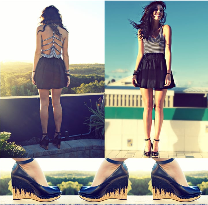 Heading to a casual dinner date? Pair a flirty, cutout tank with a tiered skirt and ankle strap pumps.  Photo courtesy of lookbook.nu