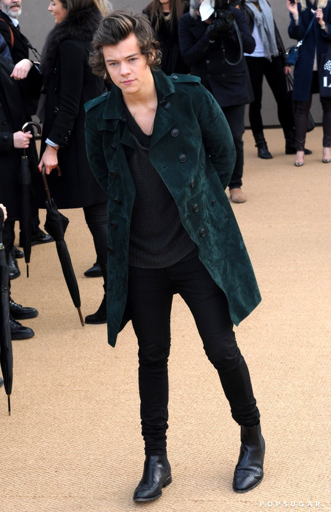 Harry Styles hit the Burberry Prorsum show at London Fashion Week on Monday.