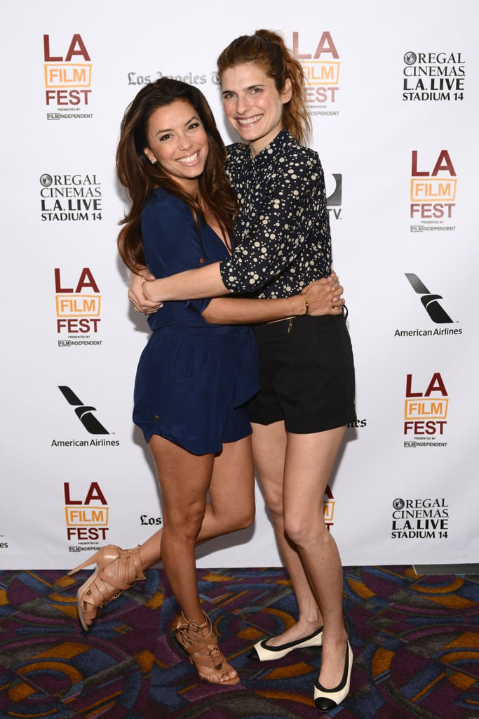 Lake Bell cuddled with Eva Longoria at the premiere of In a World.