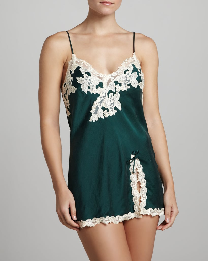 We love the deep green hue and sophisticated ivy-lace detailing on this La Perla Maison satin chemise ($477). Plus, the thigh-high hem is perfect for the girl who wants to show off her legs.