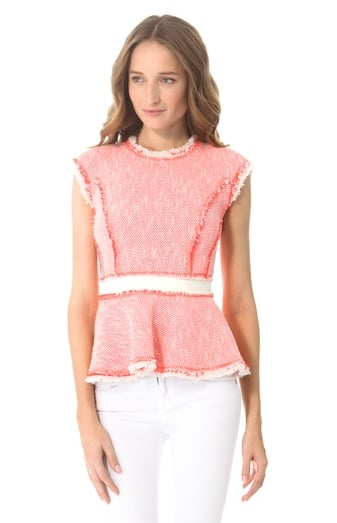 Peplum is still a huge trend, so why not combine it with a lovely fabric like tweed via this Rebecca Taylor tweed peplum top ($350)? Wear it in the daytime with jeans or at night with leather pants.