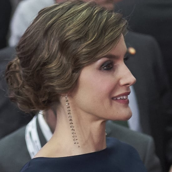 Queen Letizia Wearing Gold Accessories May 2016