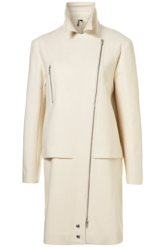 """In one fell swoop, this Topshop Premium Longline Biker Coat ($350) could make even the """"I will never wear white after Labor Day"""" girl a rule-breaker."""