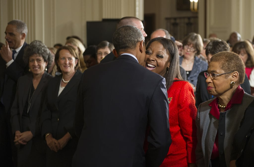 Obama hugged TV personality Star Jones after his speech.
