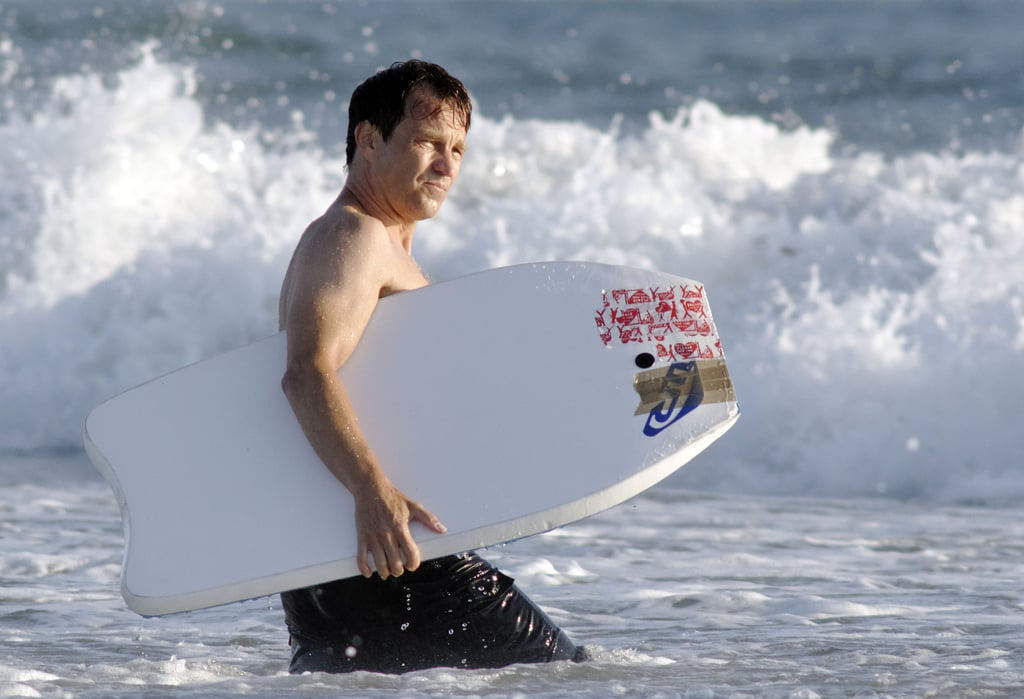 Stephen Moyer grabbed a boogie board and hit the waves.
