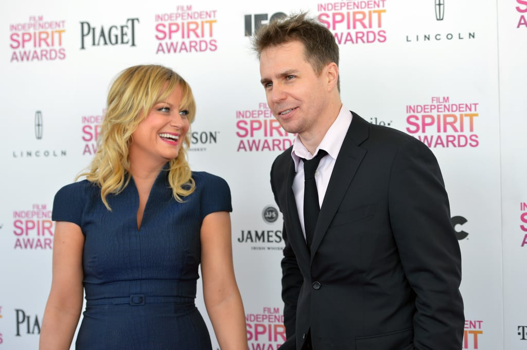 Amy Poehler and Sam Rockwell on the red carpet at the Spirit Awards 2013.
