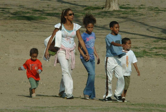 Holly Robinson Peete took her brood and pup to a dog park in LA.