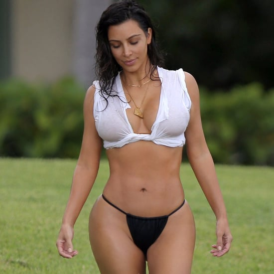 Kim Kardashian Wearing T-Shirt and Bikini in Mexico 2016