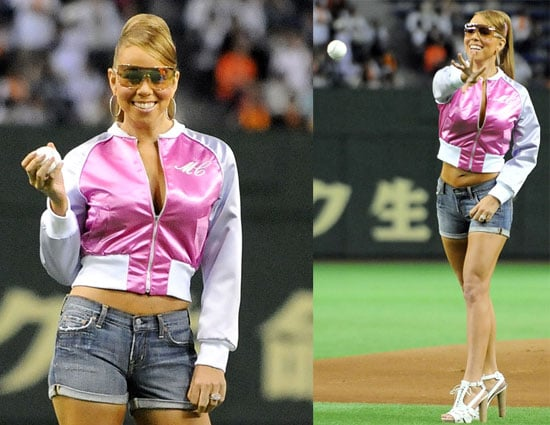 Mariah Carey Throws the Ceremonial First Pitch for a Japanese Baseball Game