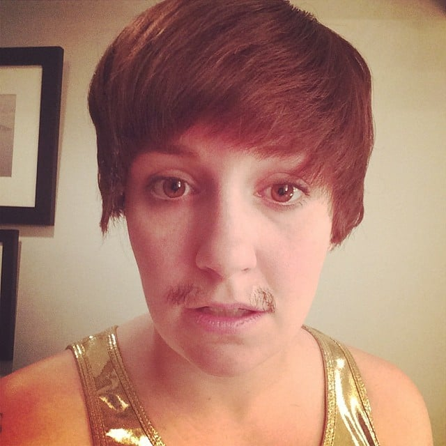 "Lena Dunham showed off a mustached Bieber-looking character as ""an SNL look you never saw.""  Source: Instagram user lenadunham"