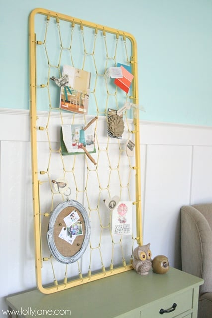 Upcycle Your Crib Mattress Frame Into a Shabby-Chic Bulletin Board