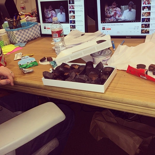 "Mindy Kaling shared a photo of the chocolate box she ""demolished"" with David Stassen, a writer on The Mindy Project. Source: Instagram user mindykaling"