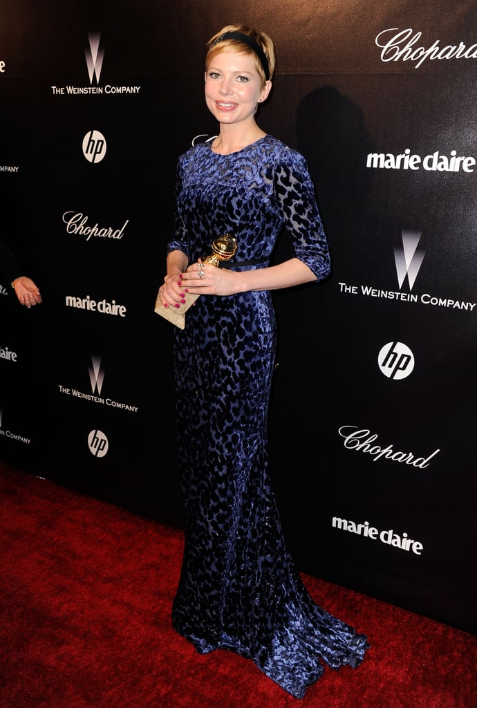 Michelle Williams arrived in her Jason Wu dress with her best actress Golden Globe.